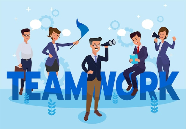 Teamwork - flat design style colorful illustration with creative employee. a composition with workers or businessmen.