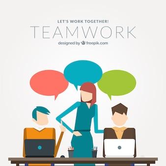 Teamwork in flat design Free Vector
