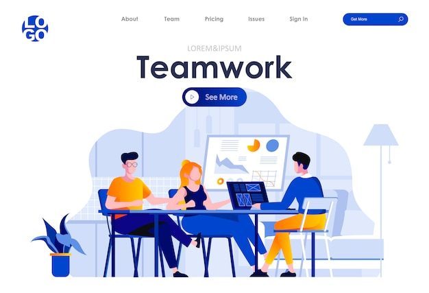 Teamwork flat landing page design web template