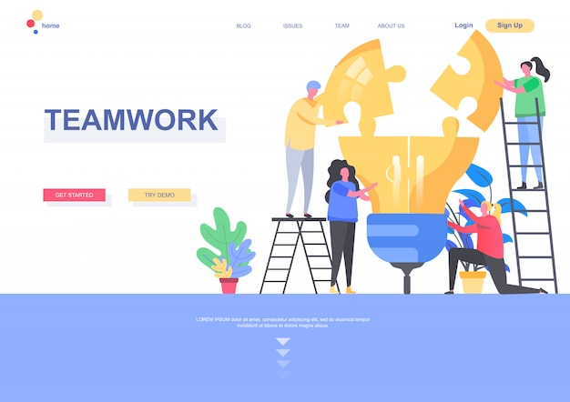 Teamwork flat landing page template. group of people together building idea lightbulb from puzzle elements situation. web page with people characters. partnership and collaboration illustration