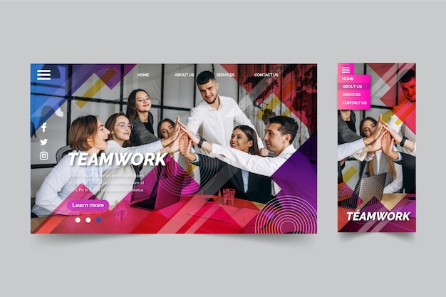 Teamwork and friends landing page