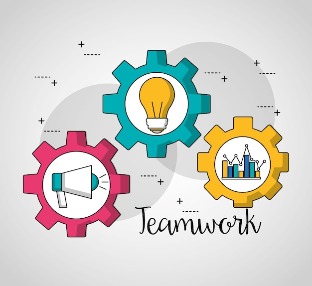 Teamwork gears inside megaphone statistics bulb