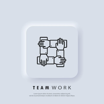 Teamwork icon. community, business partnership logo. gour hands holding together for wrist. vector. neumorphic ui ux white user interface web button. neumorphism