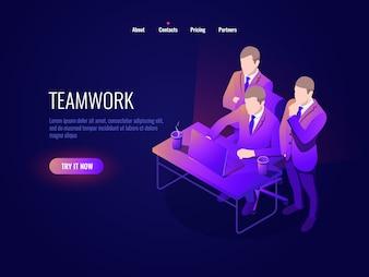 チームワークアイコンアイソメトリック、集団ディスカッション、プロジェクトディスカッション、スタートアップ、経営