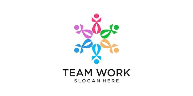 Шаблон дизайна логотипа значок совместной работы