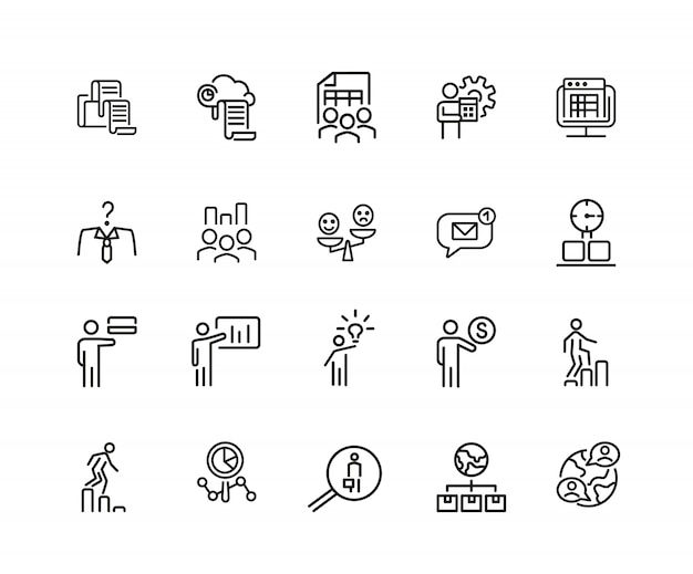 Teamwork icons. set of twenty line icons. head hunting, presentation, new idea.