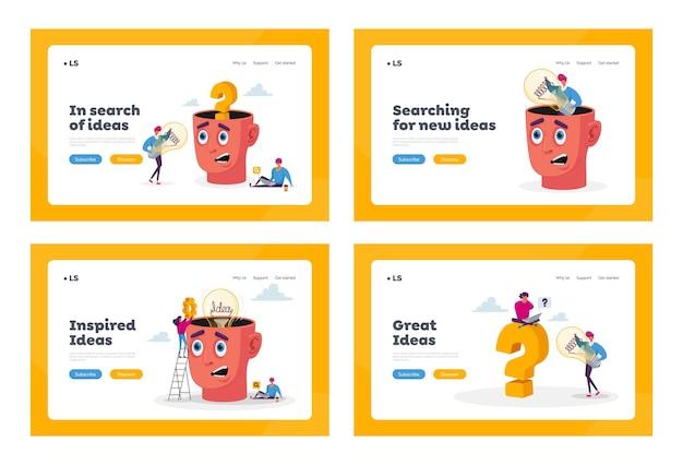 팀워크, 아이디어 연구 방문 페이지 템플릿 세트. 전구를 가진 거대한 머리 주위에 작은 캐릭터. 프로젝트에 대한 비즈니스 팀 검색 인사이트