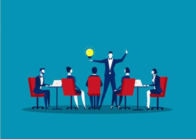 ビジネスコンセプトのチーム会議。 teamwork.idea思考図のディスカッションコミュニケーションを行うビジネスマンのグループ。