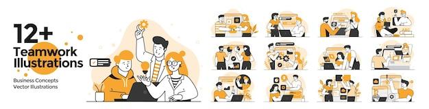 팀워크 삽화가 설정되었습니다. 비즈니스 활동에 참여하는 남성과 여성의 비즈니스 상황 모음. 웹 사이트 및 모바일 웹 사이트에 대한 최신 유행 개념. 벡터 일러스트 레이 션