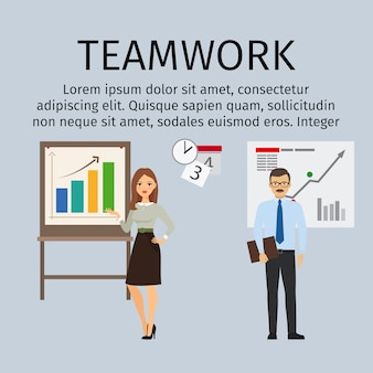 Teamwork infographic template with business people