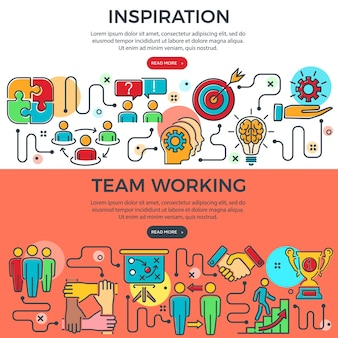 Teamwork and inspiration horizontal banners with colored line icons team, goal, inspiration and career. process infographics. concept team work. vector illustration