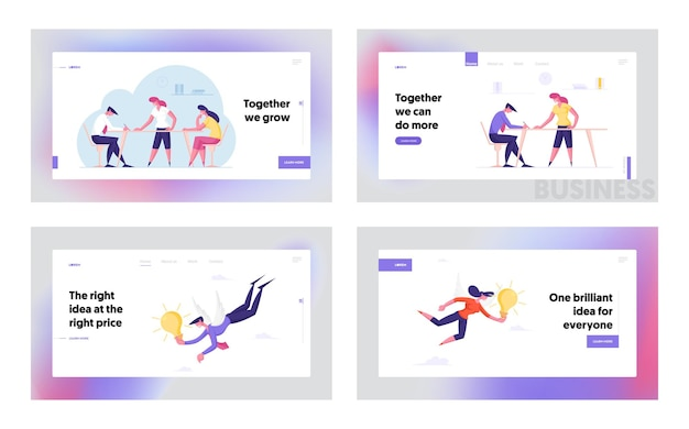 Teamwork inspiration landing page template set business people working in office