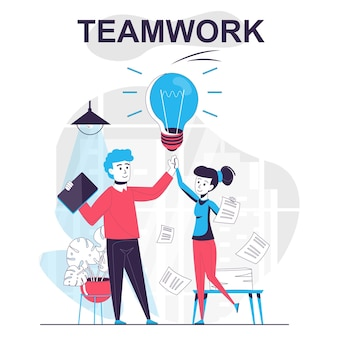 Teamwork isolated cartoon concept brainstorming staff and successful collaboration