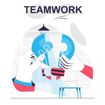 Teamwork isolated cartoon concept generation new ideas business innovation collaboration