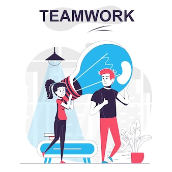 Teamwork isolated cartoon concept man and woman coming up with ideas brainstorming