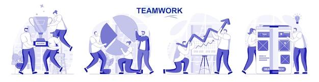 평면 디자인에 고립 된 팀웍 세트 사람들이 함께 사무실에서 협업 작업을 브레인 스토밍