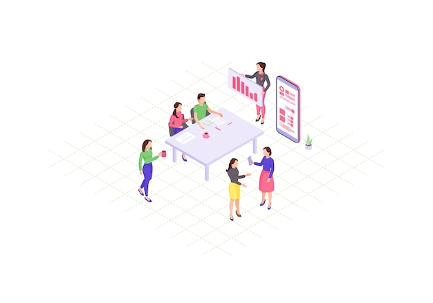 チームワークのアイソメトリックカラー。ビジネスプレゼンテーション。コワーキング。企業の会議のインフォグラフィック。年次報告書の3dコンセプト。マーケティング戦略の議論。ウェブページ、モバイルアプリのデザイン