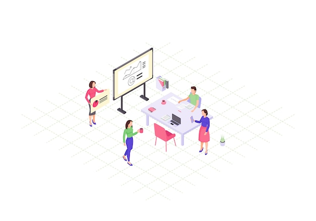Teamwork isometric color  illustration