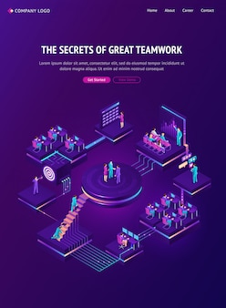 Teamwork isometric landing page, team work strategy