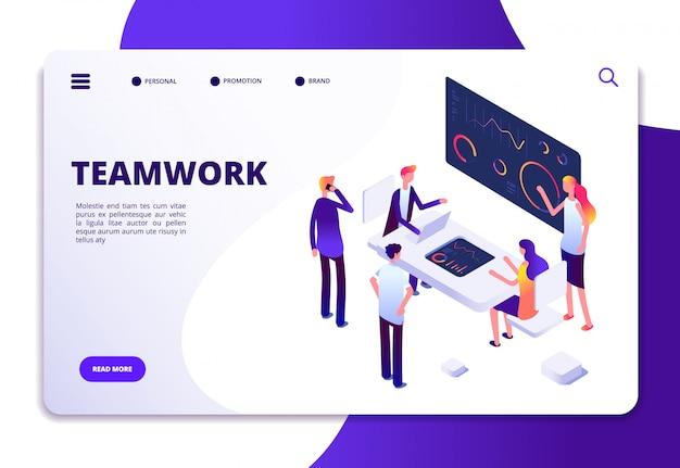 Teamwork isometric landing page