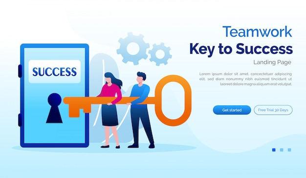 Teamwork key to success landing page website illustration flat template
