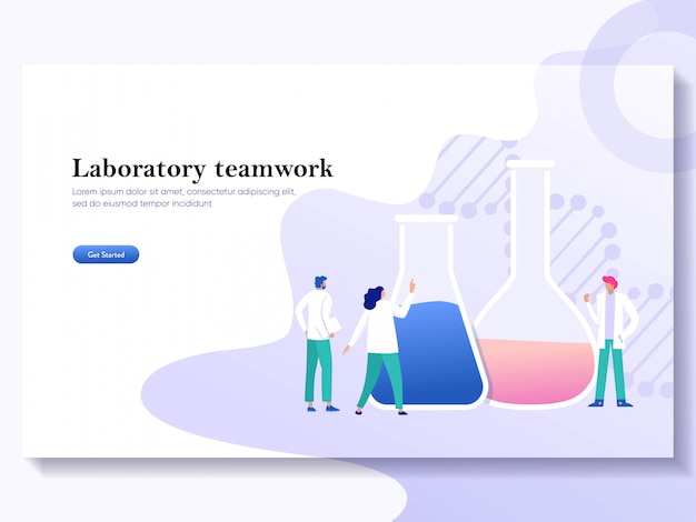 Teamwork laboratory research with science glass est tube illustration concept, people por chemiceal liquid