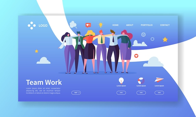 팀워크 방문 페이지 템플릿. 웹 사이트 또는 웹 페이지를 함께 작동하는 사람들이 문자로 창작 과정 개념.