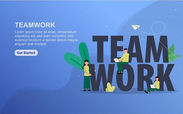 Teamwork landing page template. flat design concept of web page design for website.