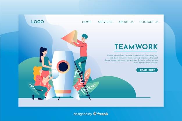 Teamwork landing page template flat design