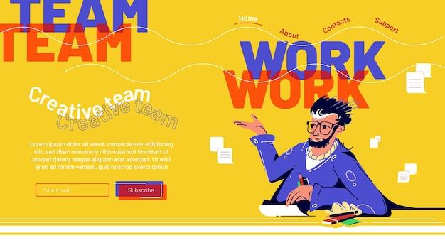 机の上に座っているビジネスマンとチームワークのランディングページ