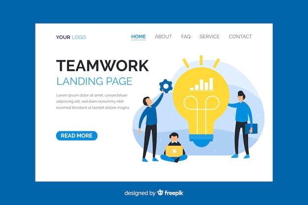 Teamwork landing page with characters co-working
