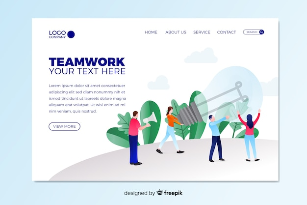 Teamwork landing page with characters