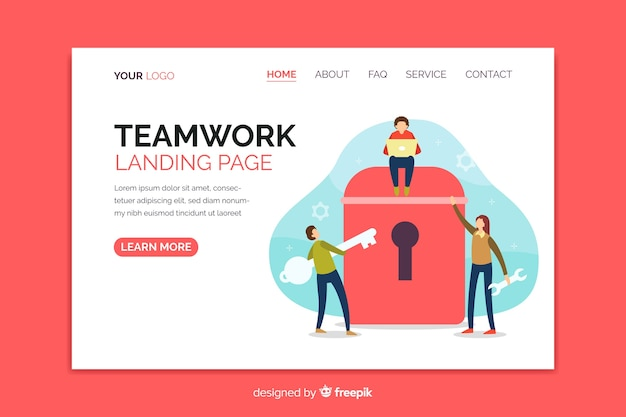 Teamwork landing page with coworkers characters
