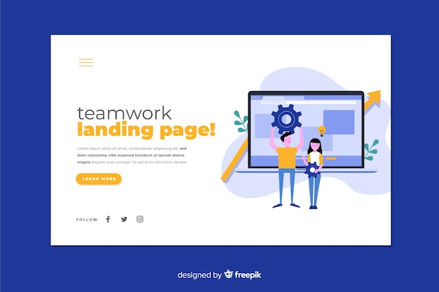 フラットなデザインのノートパソコンとキャラクターのチームワークランディングページ