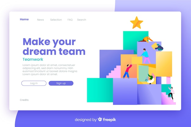 Teamwork landing page with flat design