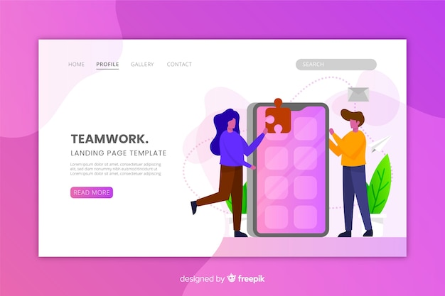 Teamwork landing page with flat desing
