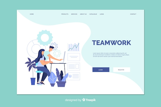 Teamwork landing page with illustration