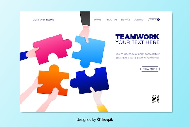 Teamwork landing page with puzzle