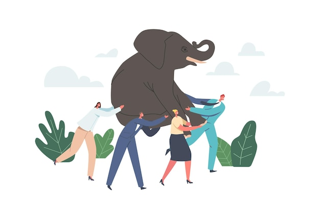 Teamwork and leadership concept. business power team holding huge elephant on hands, businesspeople teammates characters challenge, go to of success in career. cartoon people vector illustration