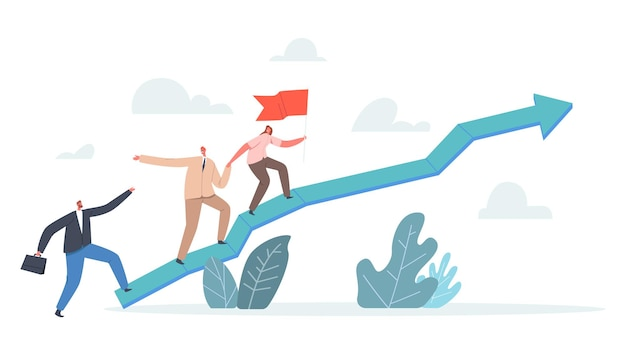 Teamwork and leadership concept. business team climbing up arrow chart with leaders holding red flag. businesspeople characters pull teammates to peak of success. cartoon people vector illustration