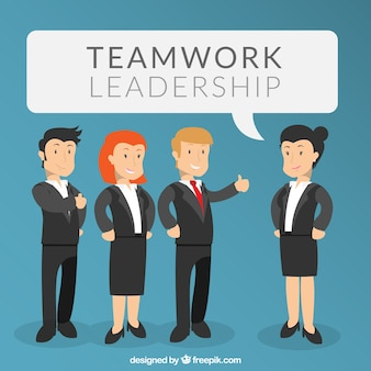 Teamwork leadership Free Vector