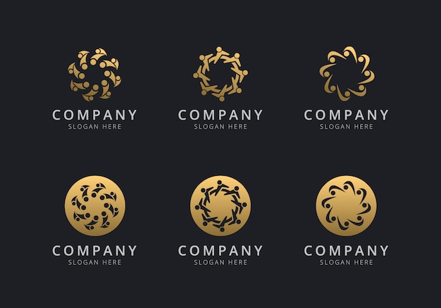 Teamwork logo template with golden style