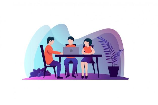 Teamwork meeting illustration