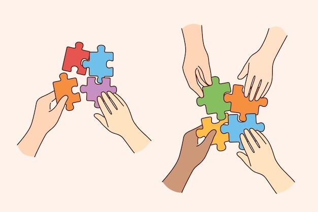 팀워크, 다중 민족적인 팀, 협력 개념.