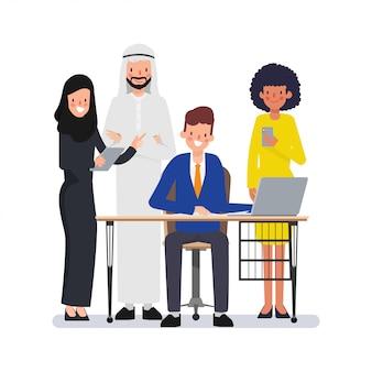Teamwork of muslim arab people in office place international corporate working.