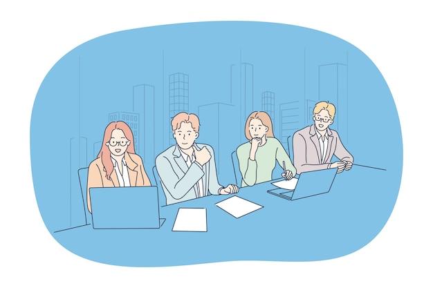 사무실 개념에서 브레인 스토밍 팀워크 협상