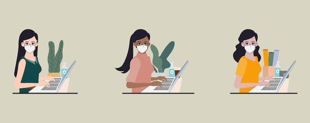 Работа в команде людей офиса носить маску и поддерживать социальное дистанцирование. стоп covid-19 коронавирус. новая концепция нормального образа жизни.