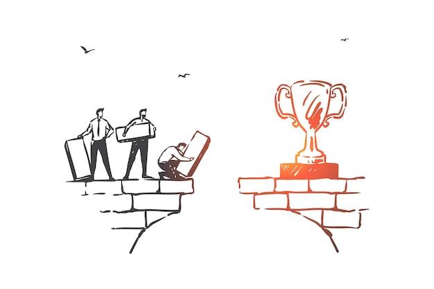 Работа в команде, партнерство и достижение целей эскиз иллюстрации концепции