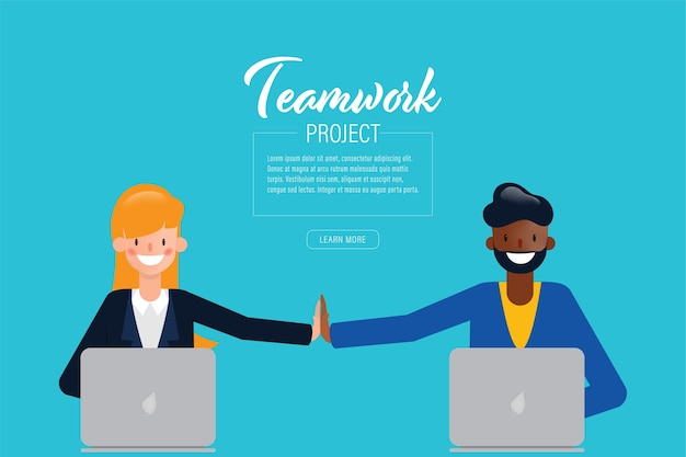 Коллективные люди сотрудничают с успешным бизнесом.