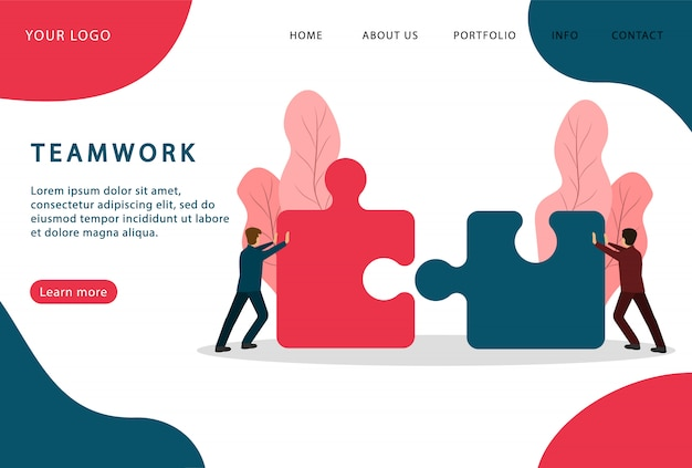 Teamwork. people connecting puzzle. partnership. landing page. modern web pages for web sites.